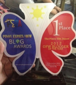 2012 PEBA OFW Blogger of the Year Award