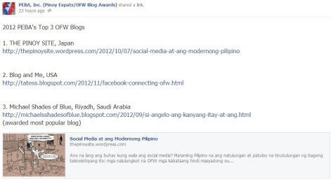 2012 PEBA Top 3 OFW Blogs