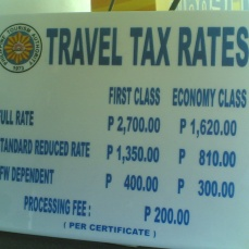 presyo ng babayarang travel tax base sa iyong category (funwithgovernment.blogspot.com)