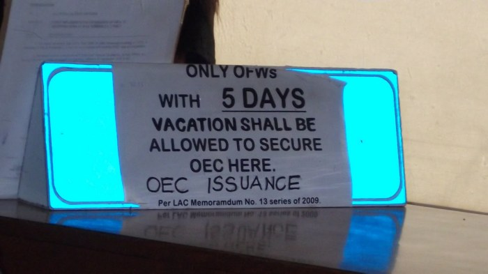 oec for short stay ofw's