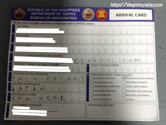 arrival card for travellers to the philippines