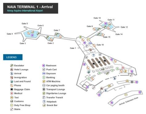 naia 1 arrival map