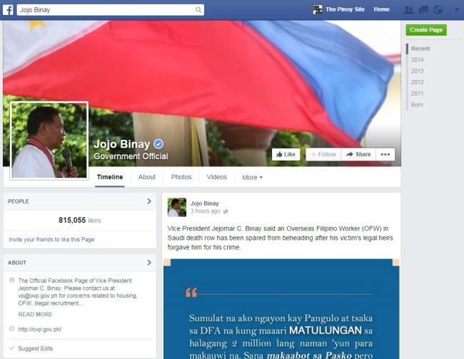 jojo binay fb page