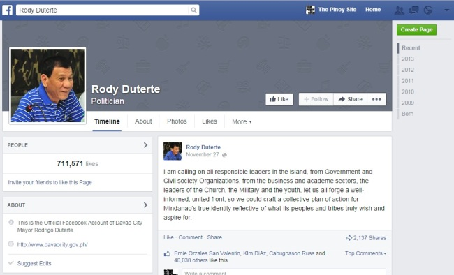 rody duterte fb page