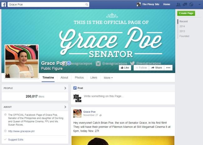 grace poe fb page