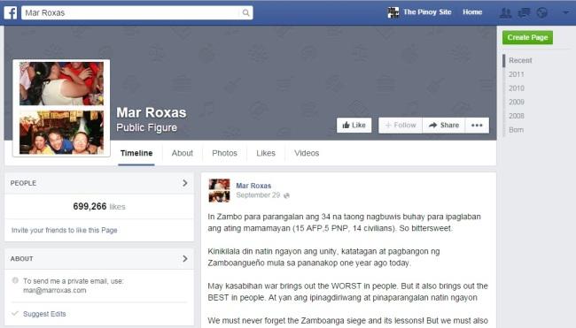 mar roxas fb page