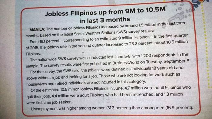 bilang ng mga walang trabaho sa pilipinas