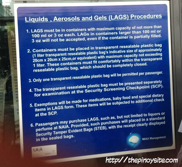 airport policy on liquids, aerosols and gels