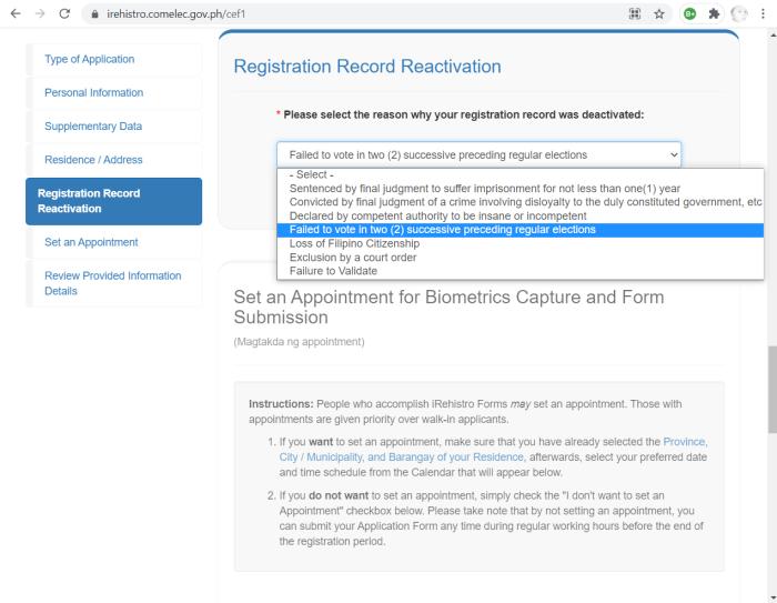 comelec online voter registration